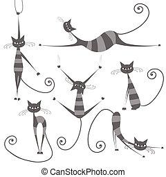 優美である, あなたの, しまのある, 灰色, デザイン, ネコ