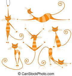 優美である, オレンジ, あなたの, しまのある, デザイン, ネコ