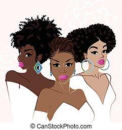 優雅である, 肌が黒, 3人の女性たち