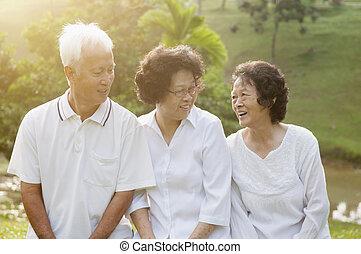 先輩, 公園, グループ, アジア人