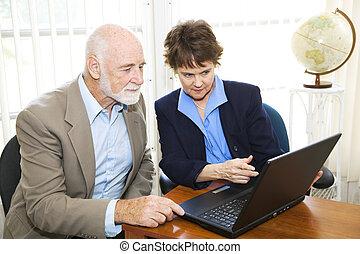光景, オンラインで, ブローカー, 資産, クライアント