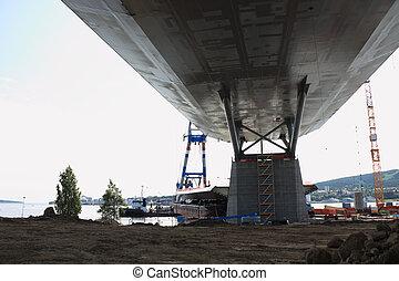光景, 下に, 新しい, 部分, 得ること, 橋