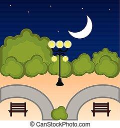 光景, 公園, 公衆, 夜