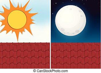 光景, 日, 屋根, 夜
