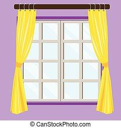 光景, 窓, 家