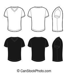 光景, 背中, 前部, tシャツ, ブランク, 側