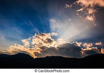 光線, 雲, ライト, 暗い, によって, 背景, 照ること