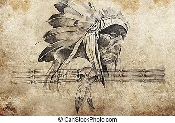 入れ墨, スケッチ, 戦士, 種族, 責任者, アメリカインディアン