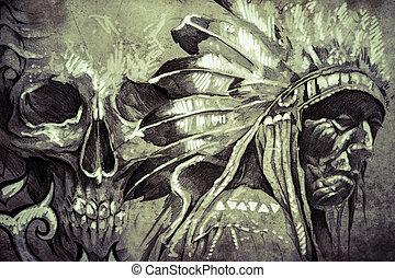 入れ墨, スケッチ, 頭骨, 戦士, 種族, アメリカ人, 責任者, indian