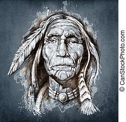 入れ墨, スケッチ, 頭, アメリカインディアン, 肖像画, 芸術