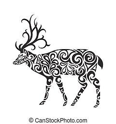 入れ墨, スタイル, 鹿