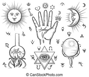 入れ墨, マジック, occultism, シンボル, ベクトル, 精神性, 化学, 錬金術