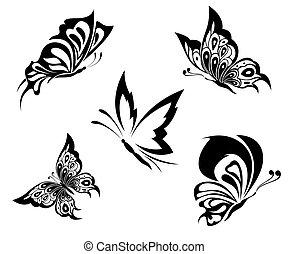 入れ墨, 蝶, 黒, 白