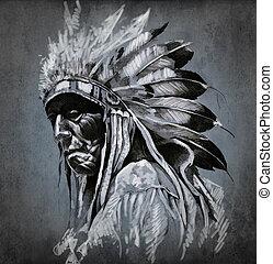 入れ墨, 頭, 上に, 暗い, アメリカインディアン, 背景, 肖像画, 芸術