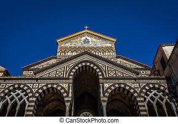 入口, イタリア, 広場, 使徒, amalfi, 熱心, アンドリュー, del, 聖者, duomo, 前部, 大聖堂