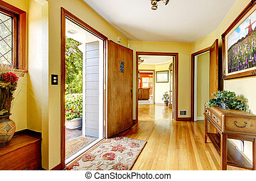 入口, 古い, 家, walls., 黄色, 大きい, 贅沢, 芸術