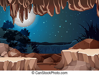 入口, 洞穴, 風景, 光景