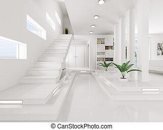 入口, render, 内部, 白, ホール, 3d
