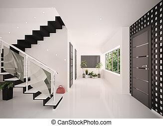 入口, render, 現代, 内部, ホール, 3d