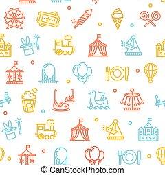 公園, ベクトル, pattern., 娯楽, 背景