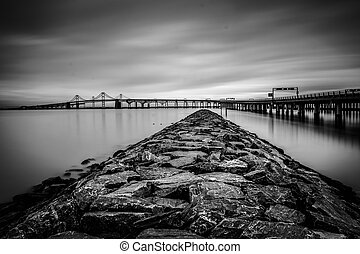 公園, ポイント, chesapeake, 突堤, 長い湾, maryland., 州, 橋, 砂, さらされること