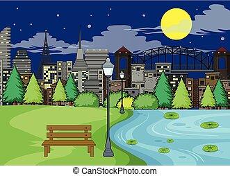 公園, 現場, 夜
