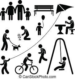 公園, 運動場, 庭, 子供