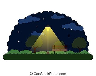 公園, 風景, 夜