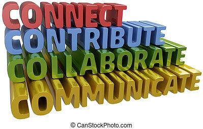 共同で行ないなさい, コミュニケートしなさい, 連結しなさい, 貢献しなさい
