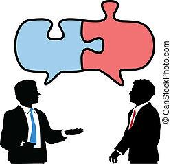 共同で行ないなさい, ビジネス 人々, 困惑, 連結しなさい, 話