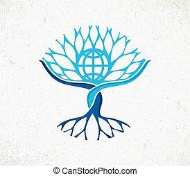 共同体, 木, 世界的である, 世界, 概念