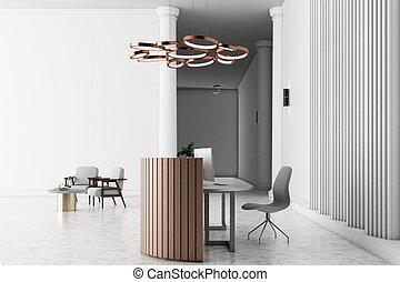 内部, レセプション, 現代, テーブル, ホテル