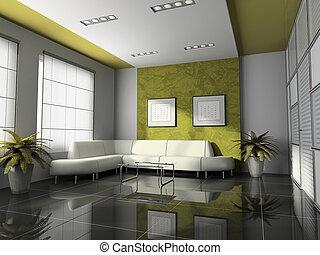内部, レンダリング, オフィス, 3d