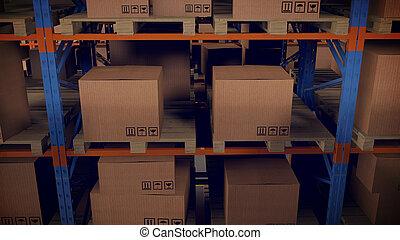 内部, 倉庫, ラック, 木枠
