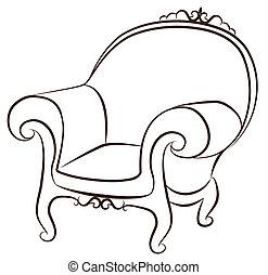 内部, 型, arm-chair