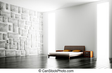 内部, 現代, 寝室, 3d