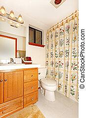 内部, 花, 浴室, カーテン