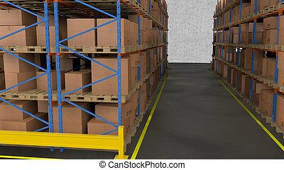 内部, warehouse., 横列, boxes., 棚