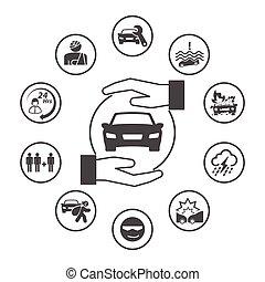 円形にされる, アイコン, 単純である, 自動車, set., ベクトル, デザイン, 保険, 保険, アイコン