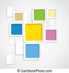 円形にされる, カラフルである, graphi, -, ベクトル, 背景, ボーダー, 正方形