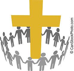 円, キリスト教徒, 家族, 共同体, 交差点