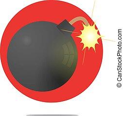 円, 爆弾, 背景, イラスト, 赤