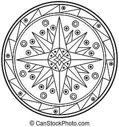 円, mandala, 幾何学的, 神聖, 図画