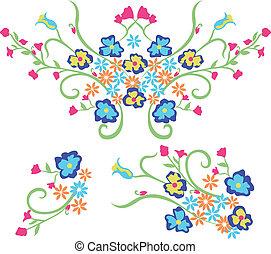 写実的な 設計, 花, 刺繍