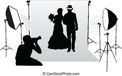 写真, 専門家, セッション, スタジオ, 結婚式