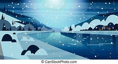 冬の性質, 凍らせられた, 雪, 家, 夜, 落ちる, 川の景色, 丘