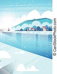 冬の性質, 凍らせられた, 雪, 家, 落ちる, 川の景色, 丘
