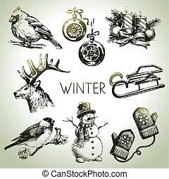 冬, セット, クリスマス, 手, 引かれる