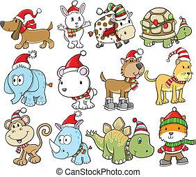 冬 休日, vec, 動物, クリスマス