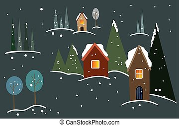 冬, 家, 雪, 木, 暗い, バックグラウンド。, ベクトル, イラスト